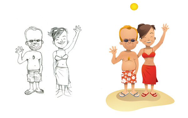 Babs #holliday #people #simple #illustration #beach