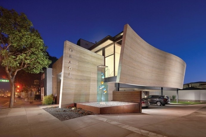 Silver Travertine Walls Sheltering Obagi Skin Health Institute in California #architecture
