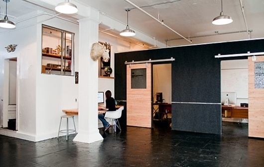 : Unplugged: Office Tour : Apartment Therapy #doors #architecture #black