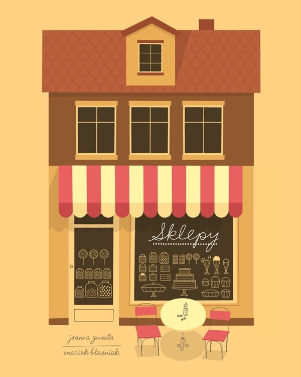 Sklepy on Behance #book #cover #cafe #illustration #architecture #poster #coffee #children
