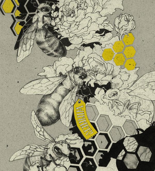 { teaganwhite } design #bees #illustration #yellow #grey