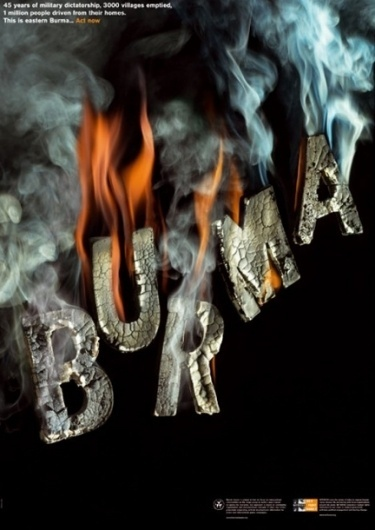 Cool Posters That Speak and Inspire « Graphic Fetish | Daily Creative Inspiration and Resources #smoke #burn #rights #poster #ash #burma #typography