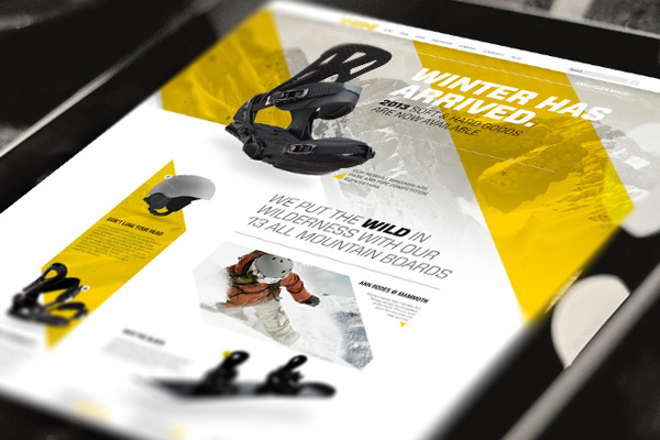 Khione Snowboard Website #site #product #brand #yellow