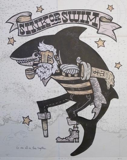 WE LIKE TO #sailor #illustration #shark
