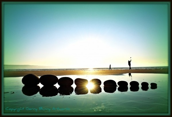 Land water and stone art instalation #land #landscape #photography #art #eco #tone #beach