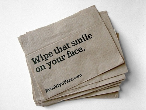 FFFFOUND! | Brooklyn Fare's Packaging and Graphic Design - Eat Me Daily #wipe #that #smile #napkin