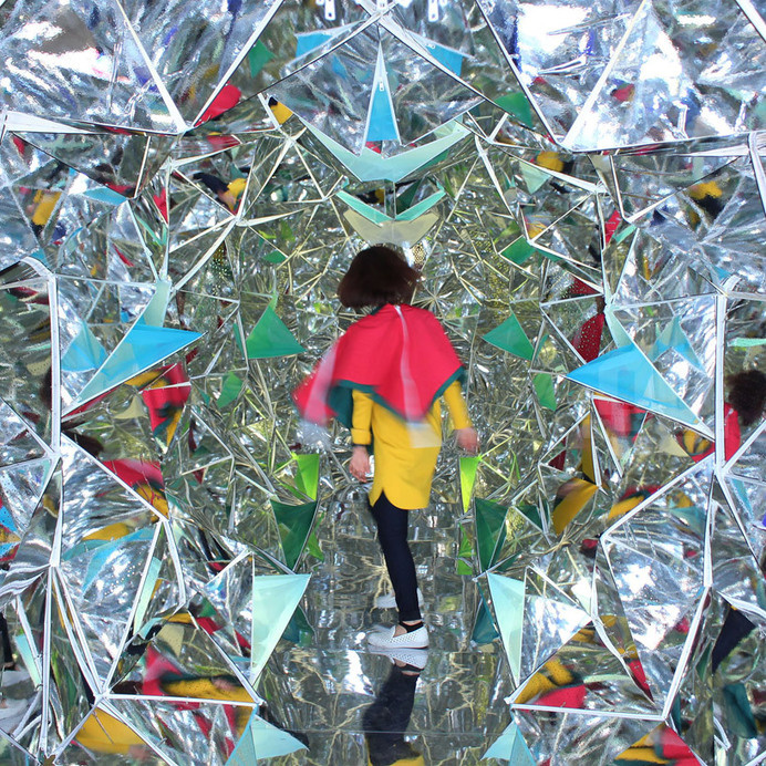 designers turn shipping container into a human-scale kaleidoscope #kaleidoscope