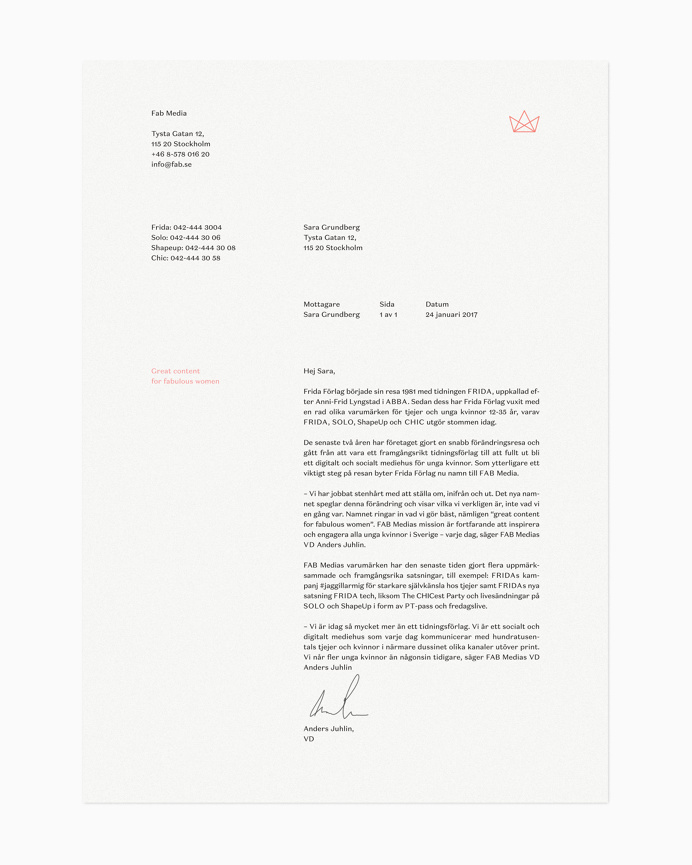 Brand identity and headed paper by Stockholm-based Bedow for Swedish media company Fab Media
