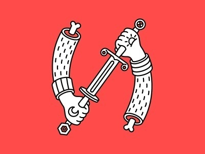 "Letter ""И"" #war #sword #letter #cyrillic #bones #hand"