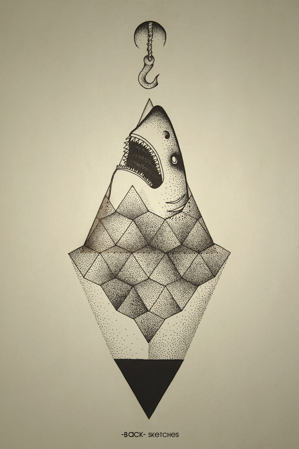 Shark outside of geometry. #hook #geometry #stone #ba #shark #ck #dots #triangle #sea