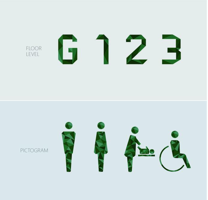 Wayfinding   Signage   Sign   Design   toilet 绿色几何多面立体公园卫生间指示标识