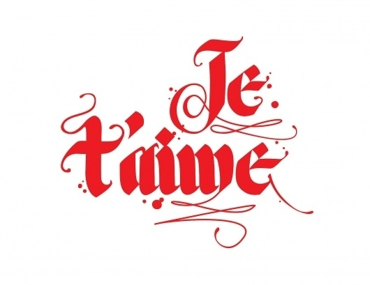 Type in Color - http://www.etsy.com/shop/typeincolor #taime #calligraphy #lettering #red #modern #color #je #french #hand #typography