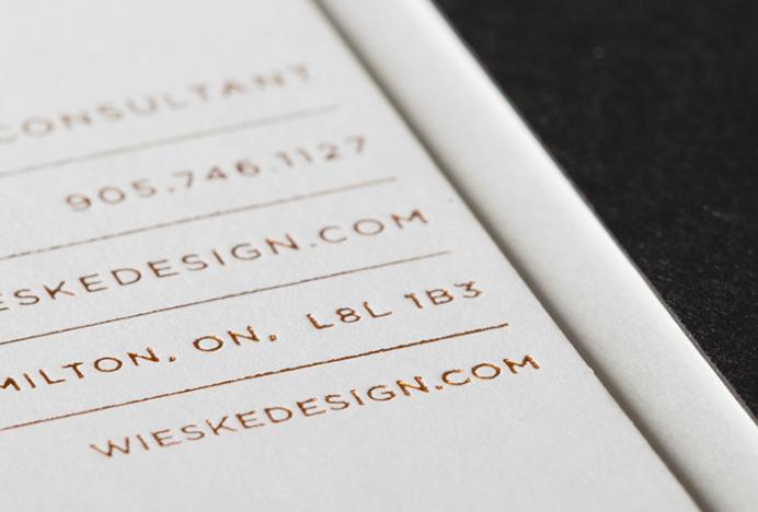 Wieske Design by Richard Baird #graphic design #business card #detail #print #metallic #copper