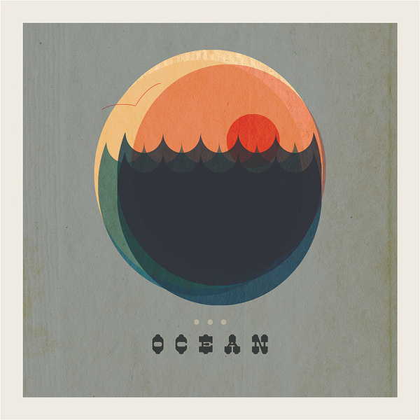 O is for Ocean #ocean #mccarty #seagull #illustration #distressed #mjmccarty #type #sunset #waves #michael