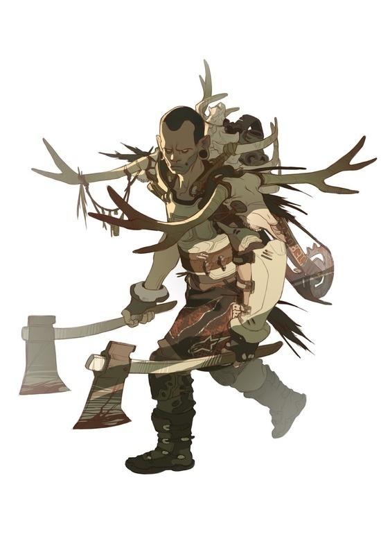 Warrior - Sergi Brosa #antler #fantasy #hunter #illustration #magic #axe #character