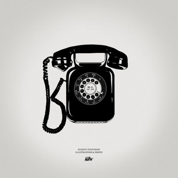 Silence Television new vintageprints #white #phone #print #black #illustration #vintage #and #telephone #bw
