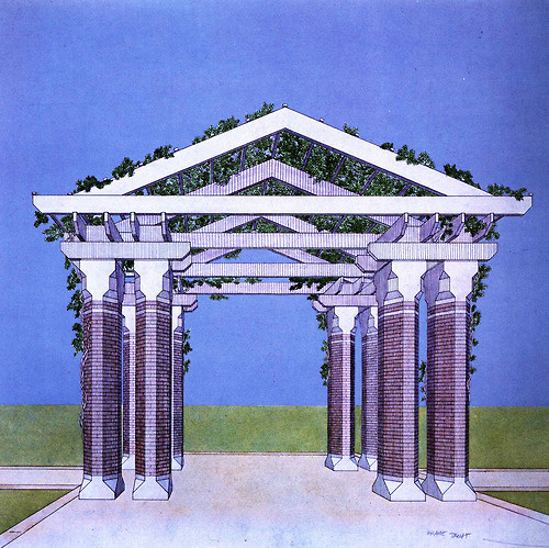Kevin Roche and John Dinkeloo Associates, Renovation of Central Park Zoo, Perspective of Pergola, New York, New York, 1980 #zoo #park #pavilion #architecture #central #york #new