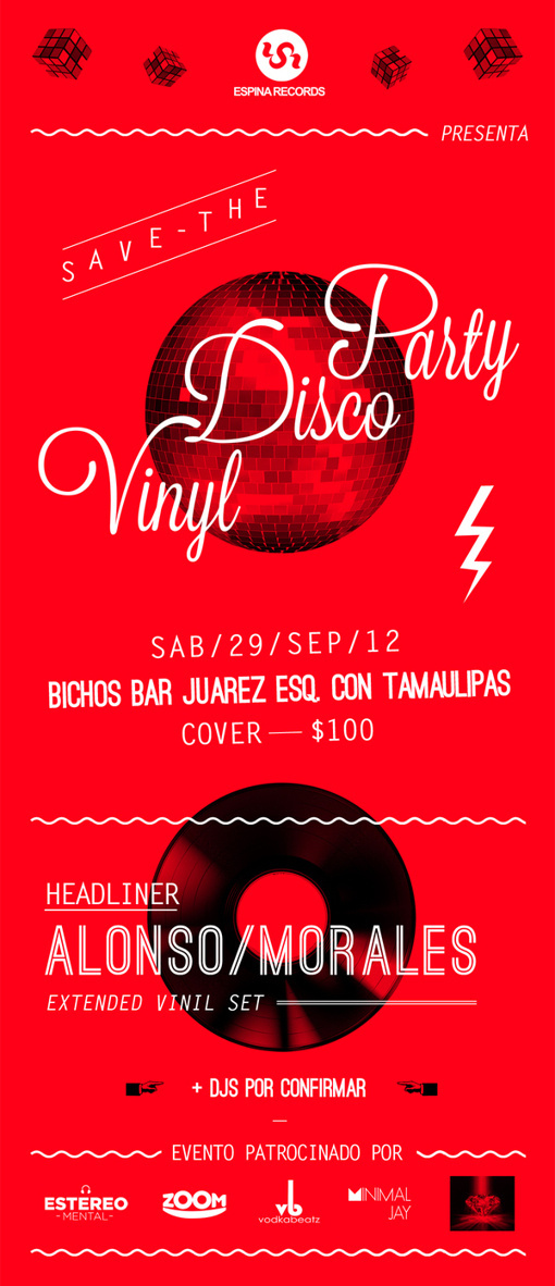 Vinil Disco Party Flyer #sonora #disco #rubick #mexico #flyer #70s #electronic #vinyl #poster #music #party