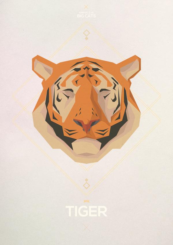 Big Cats - Hadrien Degay Delpeuch #vector #cat #paper #illustration #minimal #tiger #animal #8bit