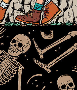 1/1'Black Heart on the Appalachian Trail', by T.J. Forrester, for The NY Times Sunday Book Review. #illustration #skeleton