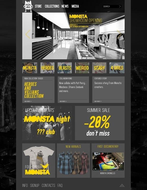 MONSTA website on the Behance Network #monsta #shirt #website #tee #web