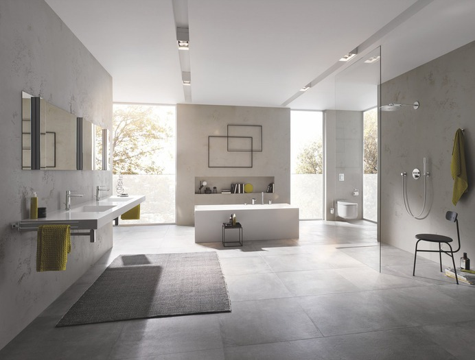 Bath Room, Wall Mount Sink, Open Shower, One Piece Toilet, Full Shower, Freestanding Tub, and Soaking Tub Photo 1 of 7 in Create a Spa-Like Ambiance in Your Bathroom With These Designer Tips