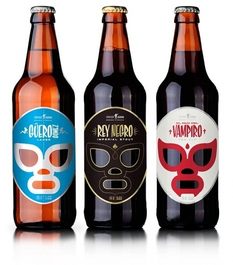Cervecería Sagrada, Mexican Craft Beer - TheDieline.com - Package Design Blog #labels #white #red #packaging #silver #black #masks #gold #blue #luche