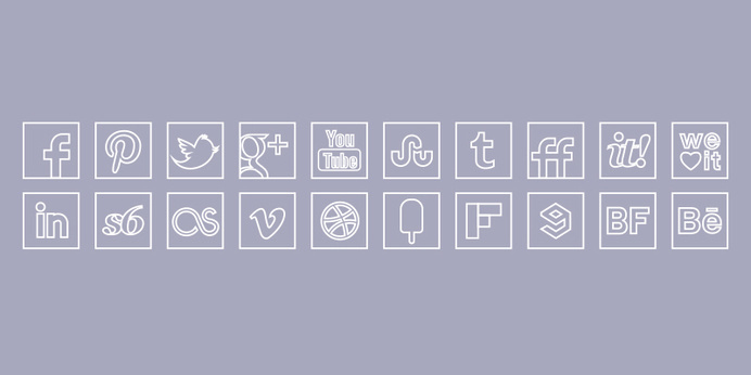 White Line Colour Icons Set http://s-icons.com/white-line-colour-icons-set/# #line #white #icons #web #social