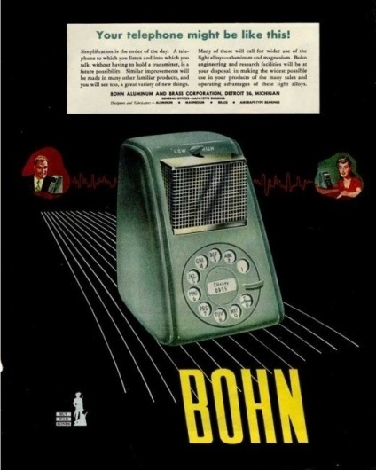 Vision of the future - Wall to Watch #futuristic #illustration #bohn #vintage #poster #telephone #50s
