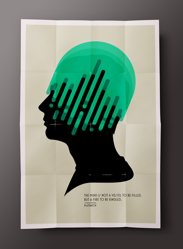 """""""The mind is not a vessel to be filled, but a fire to be kindled."""" ― Plutarch You can purchase this poster, iphone case and t-shirts i #mind #illustration #poster"""