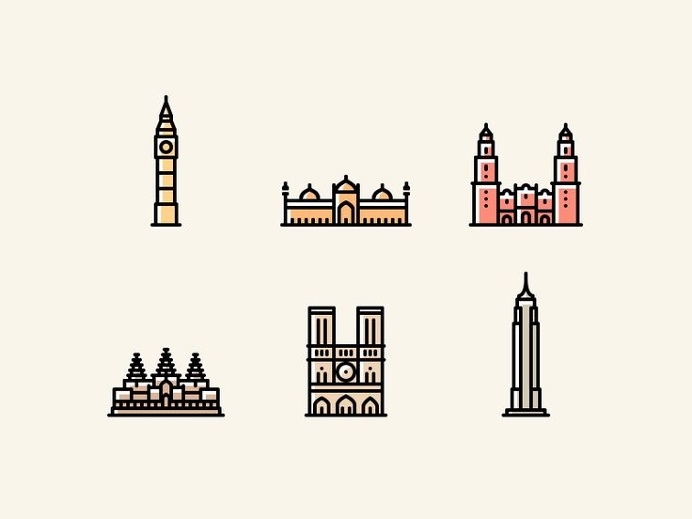 Monuments Icons by Yegor Shustov #icon #icondesign #picto #pictogram #symbol #building #monument #city #line #minimal