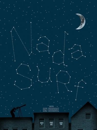 Brian Danaher ::: Design / Nada Surf Gig Poster #surf #gig #print #night #screen #stars #nada #poster