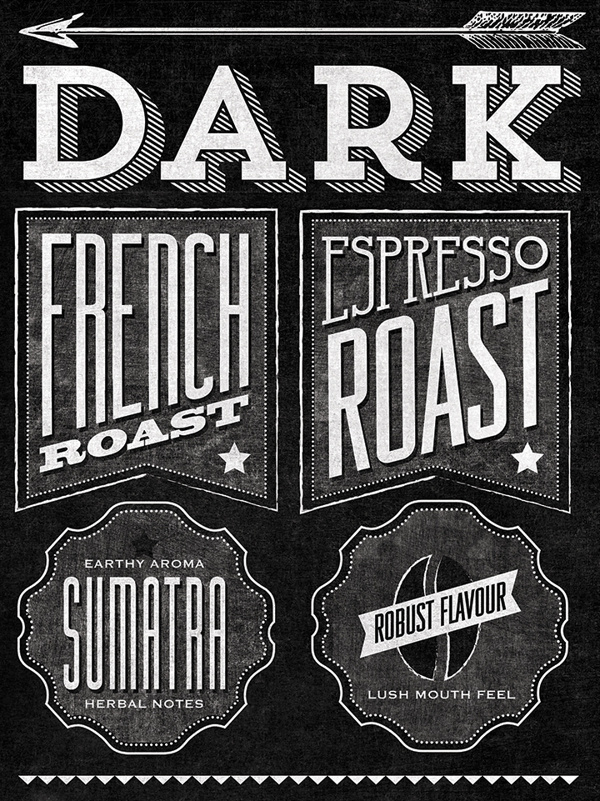 Starbucks Roast Guide Mural by Jaymie McAmmond #typography
