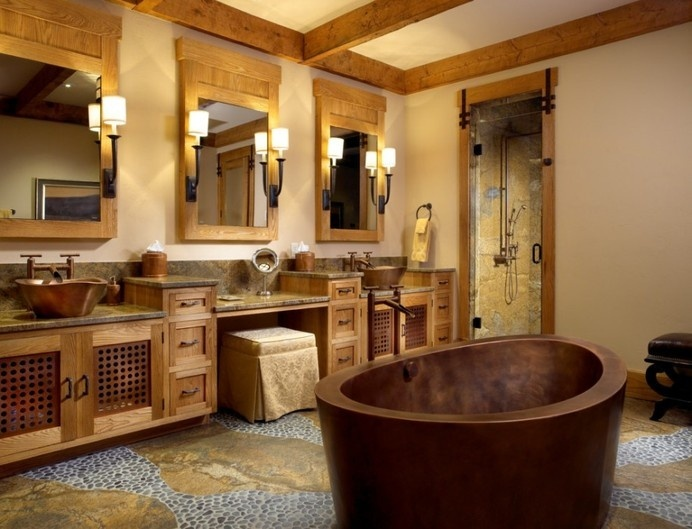 Rustic Bathroom Vanities Concept Adding Cheerfulness to Rustic Bathroom : Rustic Bathroom Vanities And Cooper Bathtub In Rustic Bathroom Ide #bath #stone #shower #bathroom #wood #bathtub #cooper