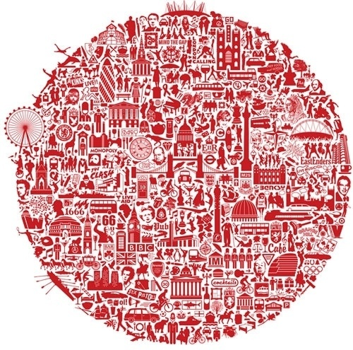 Everything Important About London #circle #red #london #design #graphic #illustration #graphics #detail