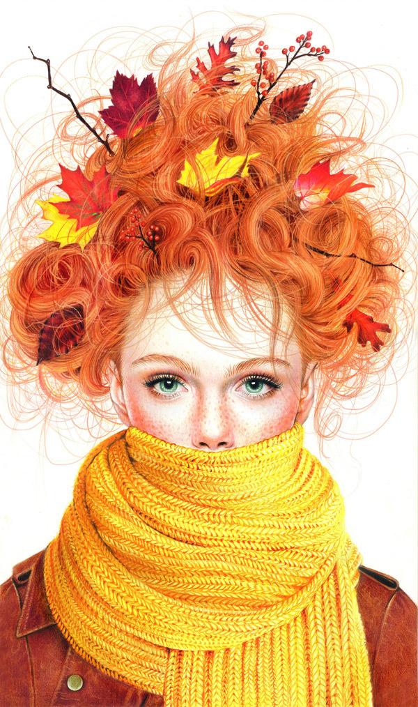 Morgan Davidson: Colored Pencil Season Girls Illustration Series #morgan #illustration #series #girl