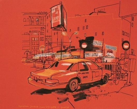 Lucinda Rogers - New York - Houston Street from Lafayette Street #lucinda #rogers #paint #illustration #drawing