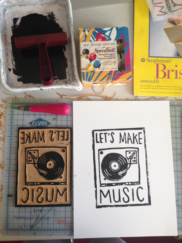 let's make music #carving #ink #turntable #print #linoleum #graphic #block #illustration #vinyl #handmade #typography