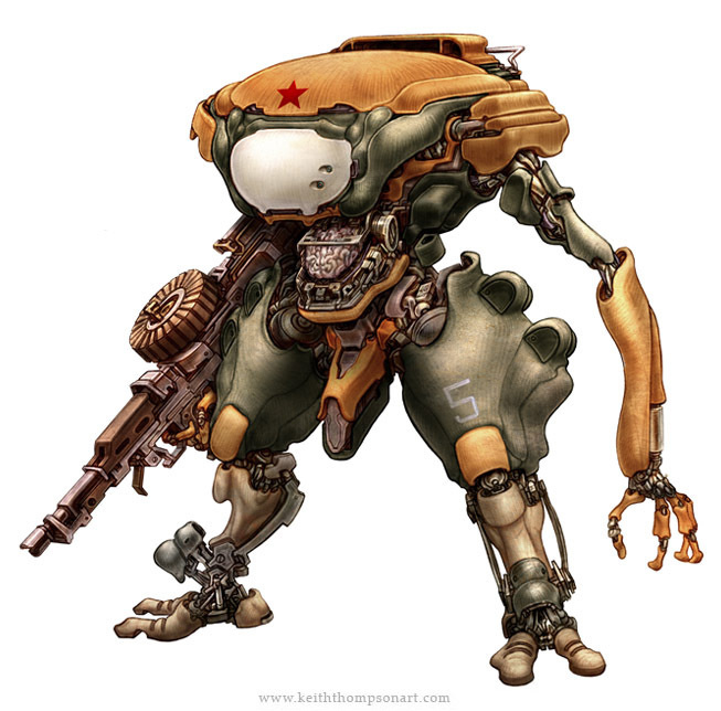 Robots: Prosthetic Commando #wwwkeiththompsonartcom #robot #sci-fi #fantasy #russian
