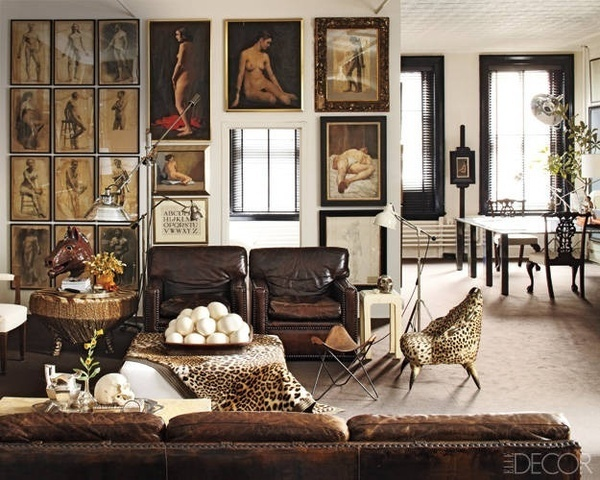 The living room of accessories designer William Frawley's Soho apartment #walls #decore #prints #chairs