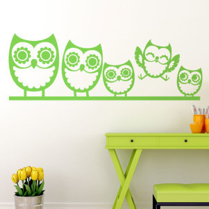 What a cute family of owls! I want these in my sewing room. Vinyl wall decal from http://cozywallart.com/ #decal #owl