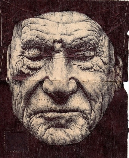 Flavorwire » Gorgeous Ink Portraits Drawn on the Backs of Old Envelopes #ink #drawing #envelope