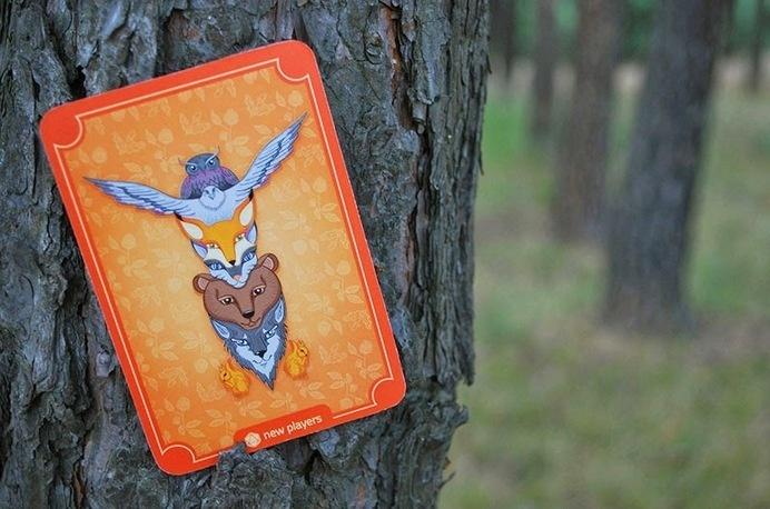 Zaczarowana Walizka #forest #totem #pattern #owl #fox #card #orange #cat #squirrel #playing #eagle #illustration #wolf #animals #bear #game