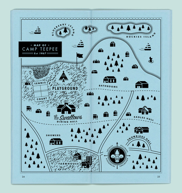 Camp Teepee #map #blue #camp #pamphlet #boy scouts