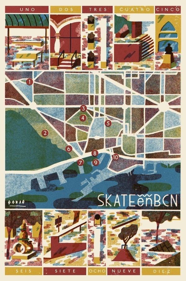 Skate en BCN David Doran Illustration #illustration #skating #barcelona
