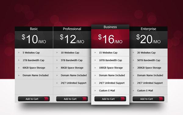 Pricing Table PSD #psd #web