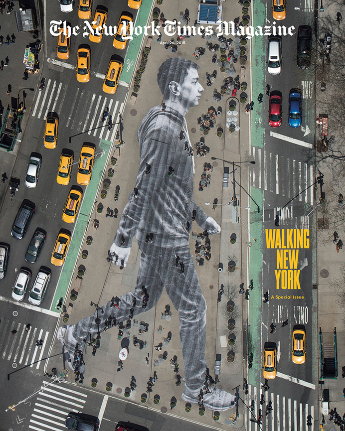 Walking New York Cover by JR for New York Times Magazine
