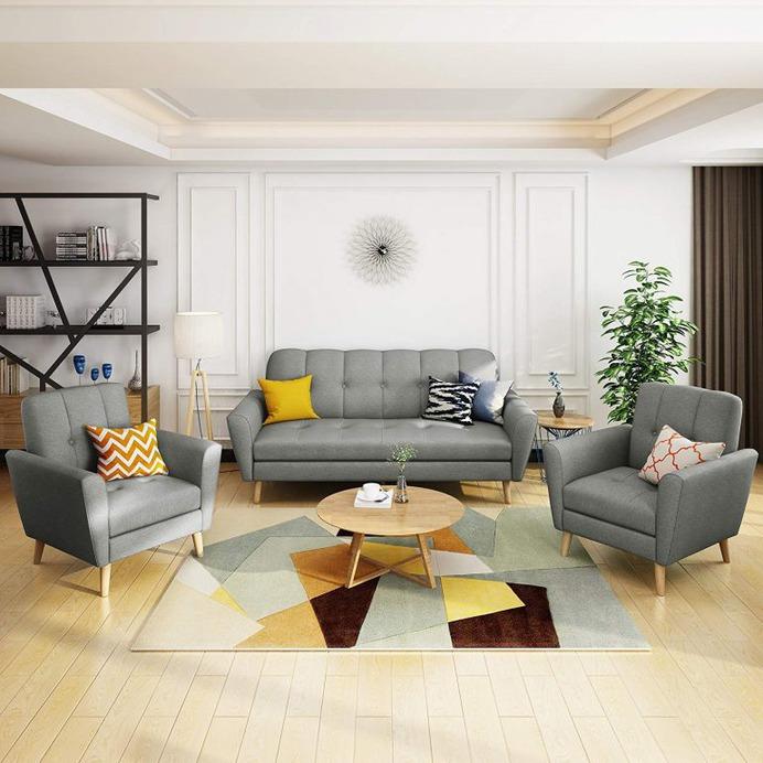 Angelina Mid Century Grey Fabric Sofa Chat Set