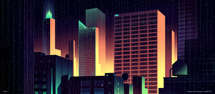 Brilliant Digital Illustrations of a City by Night – by Romain Trystram #city #illustration #romaintrystram