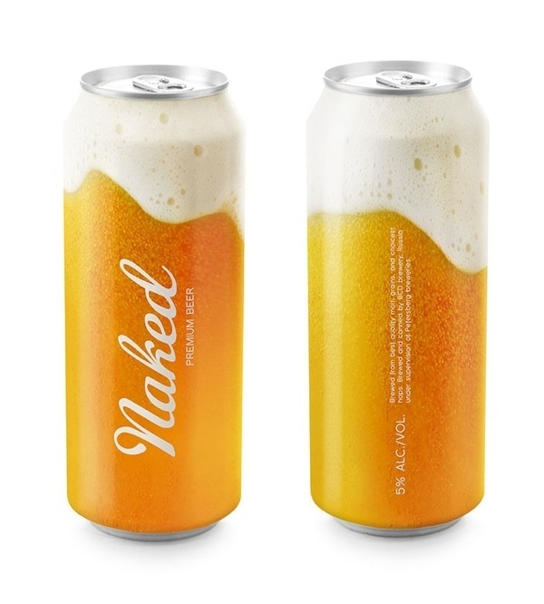 Naked Beer, Designed by Timur Salikhov, an art director from Saint Petersburg, Russia. #packaging #drink #can #beer